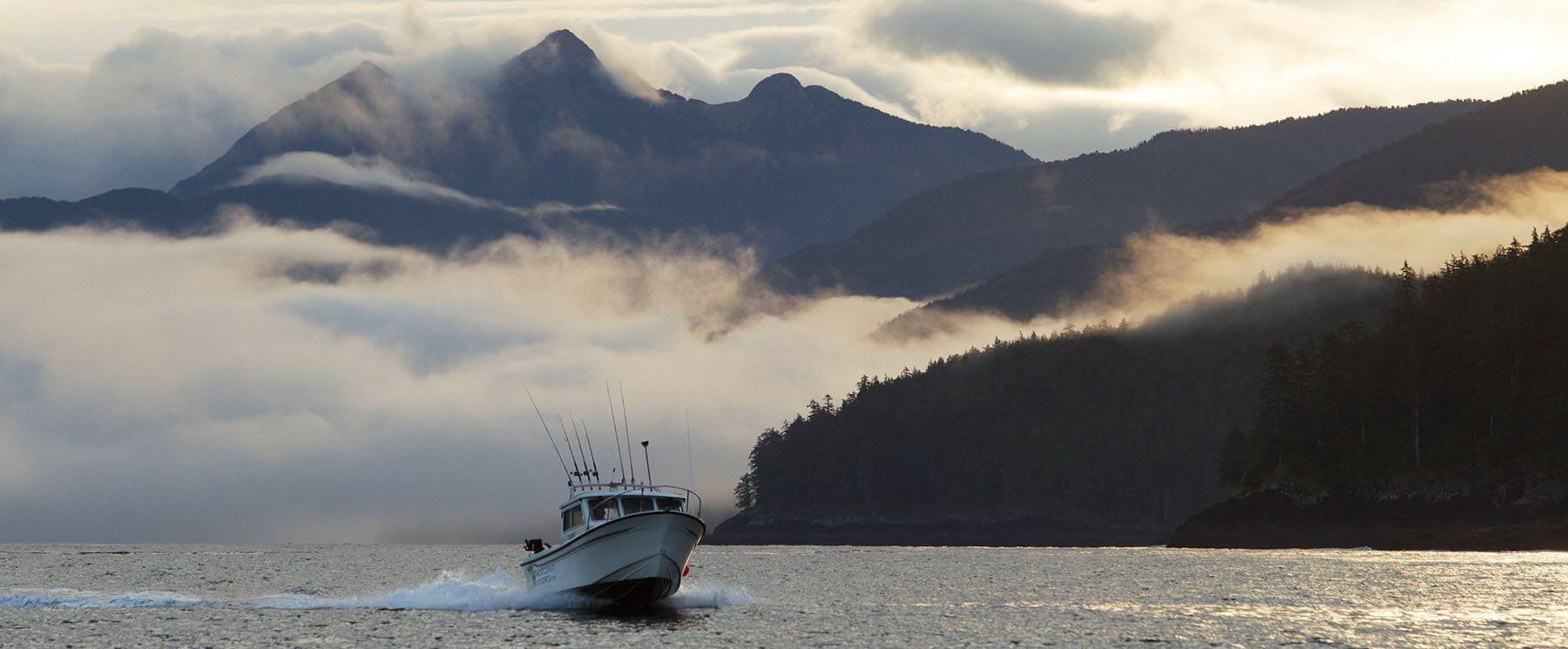 Saltwater fishing boat in haida gwaii british columbia canada
