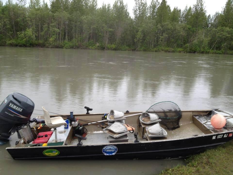 Alaskan Interior fishing lodge boats and equipment in Alaska